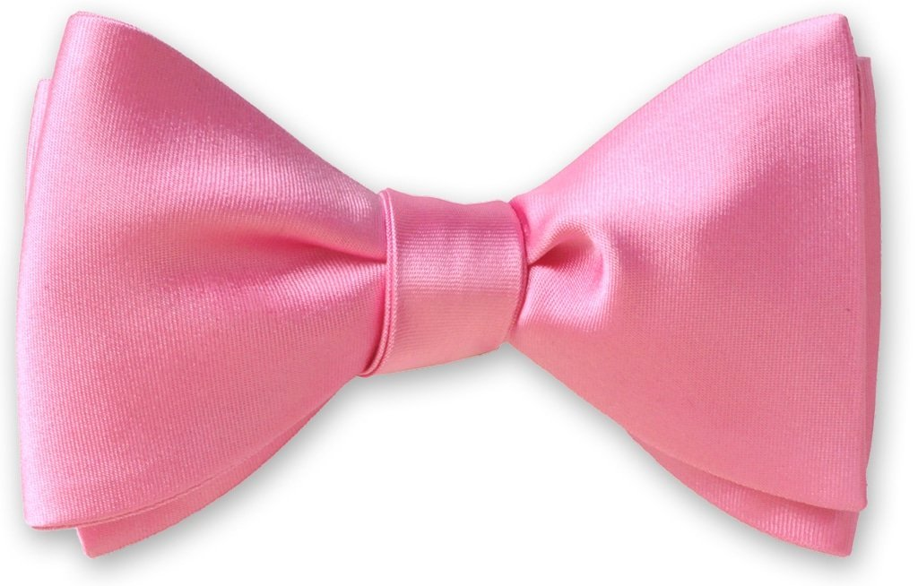 Pink Formal Wedding English Solid Satin Bow Tie