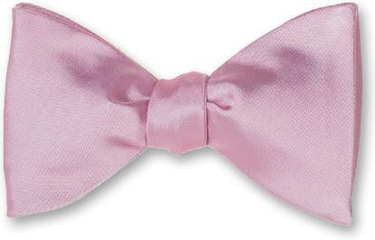 Light Pink Formal Wedding Solid Satin Bow Tie
