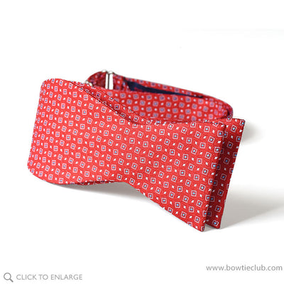 tie your own red woven dot bow tie