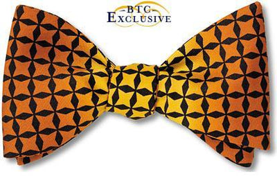 bow ties designer color block yellow brown silk american made
