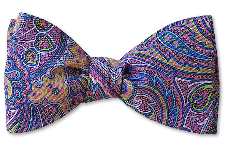 Bow Tie Cotton Purple Paisley with matching mask option