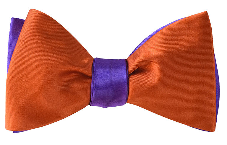 Purple and Orange silk satin bow tie