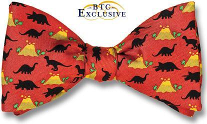 bow ties dinosaurs colcanoes red american made