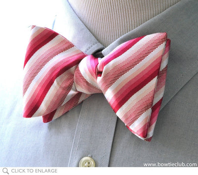 pink stripe bow tie on shirt