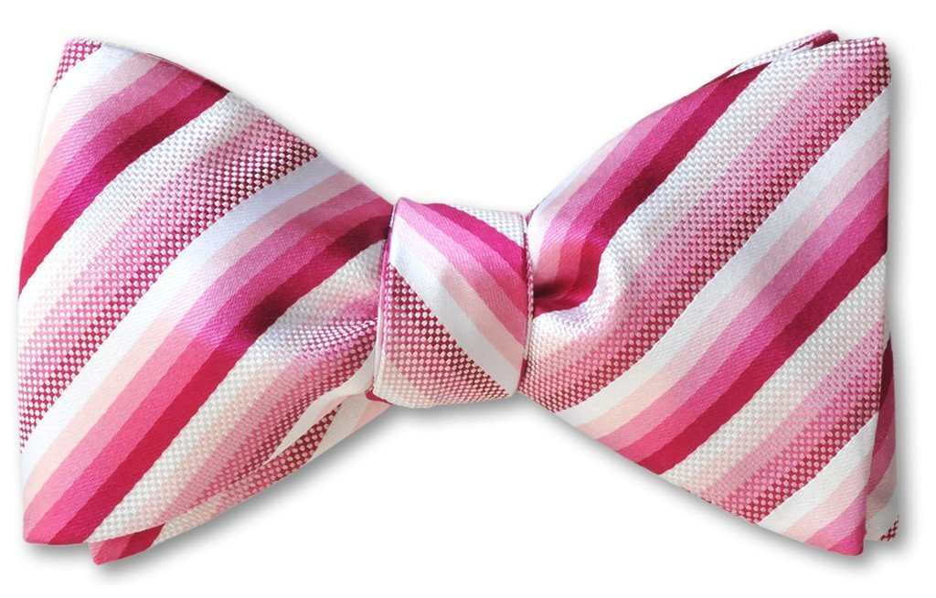 pink stripe pre tied bow tie