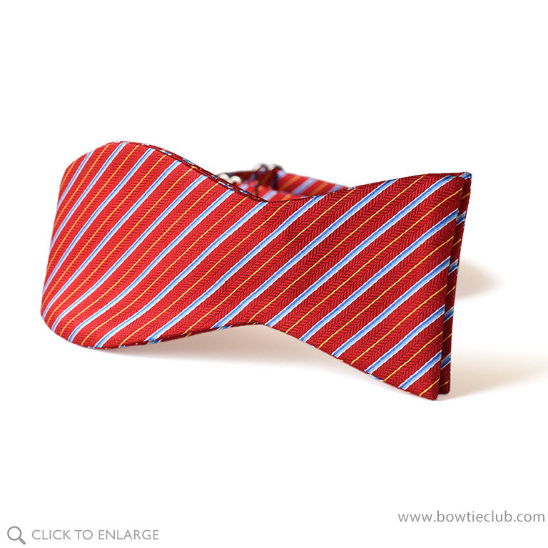Red holly striped Christmas bow tie