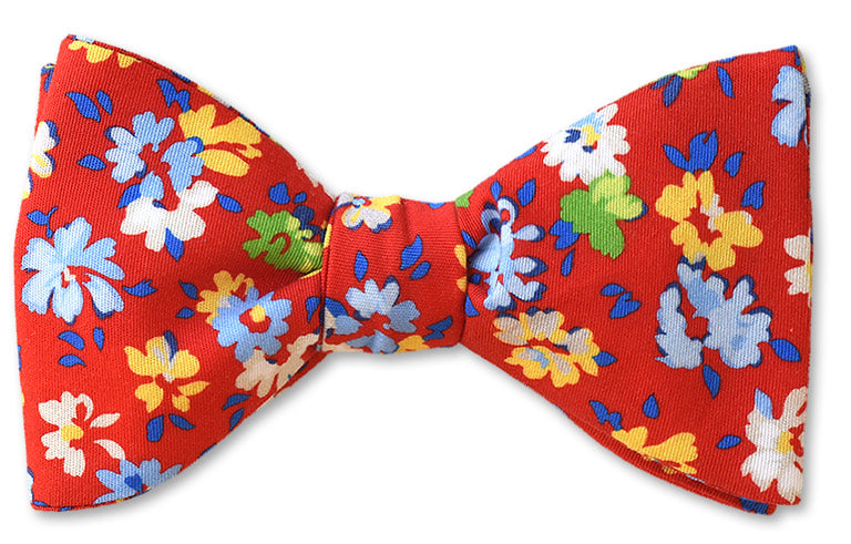 Red Floral Cotton Bow Tie