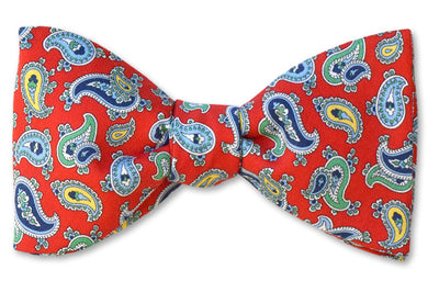Red Paisley Cotton Bow Tie