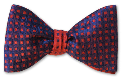 Red on Navy reversible silk woven bow tie
