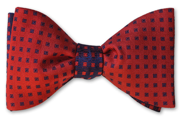 Navy on red reversible silk woven bow tie