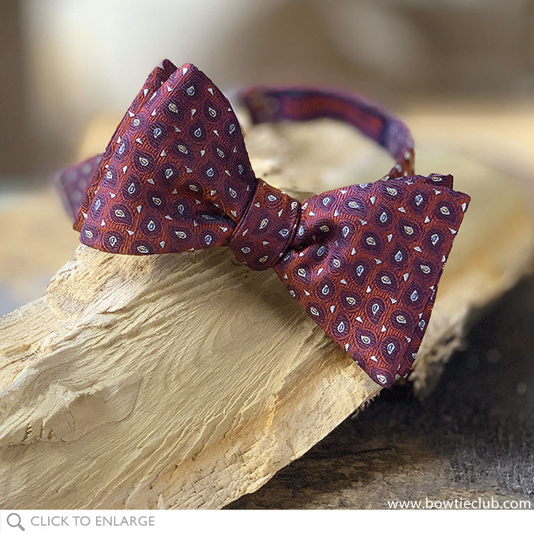 Red Chestnut woven teardrop burgundy and red bow tie pre-tied