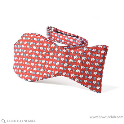 Red Elephants Bow Tie Self-tie