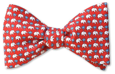 Red Elephants Bow Tie Pre-tied