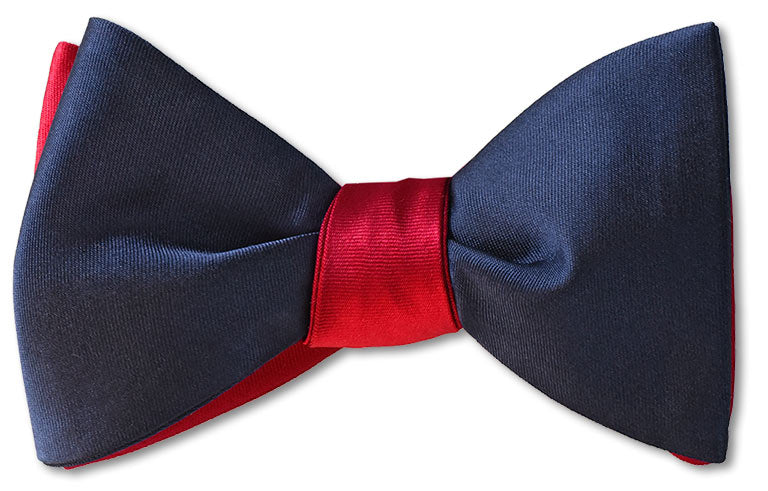 red and navy silk satin mens bow tie