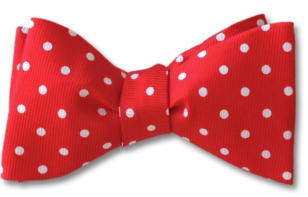 Red Polka Dots Silk Bow Tie | Red Robin