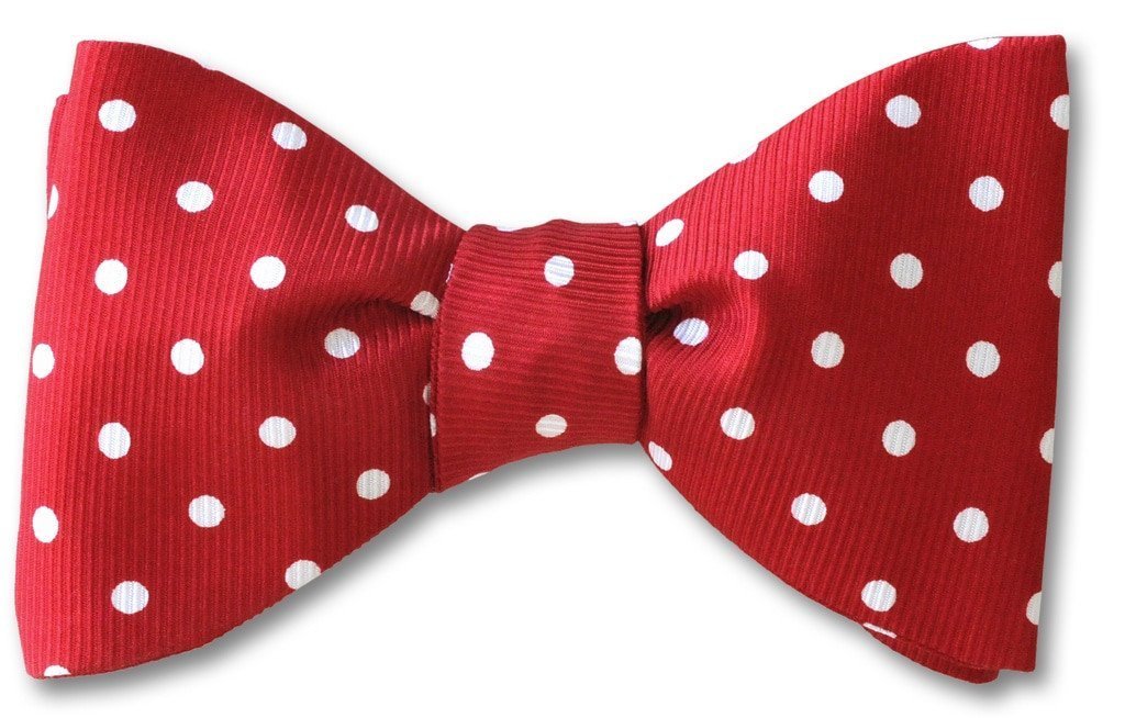 Red Polka Dots Silk Bow Tie | Red Rover
