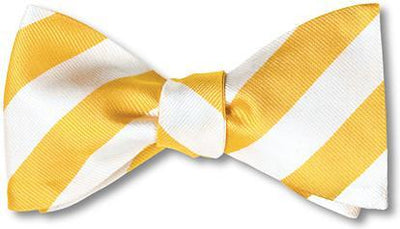 yellow white stripes bow ties