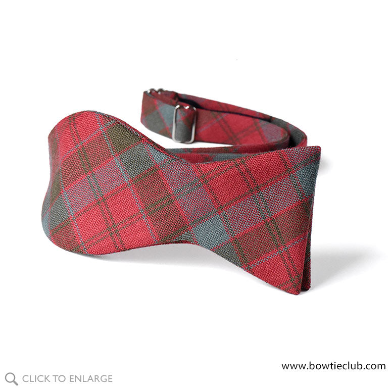 Robertson Red Weathered Wool Tartan Bow Ties
