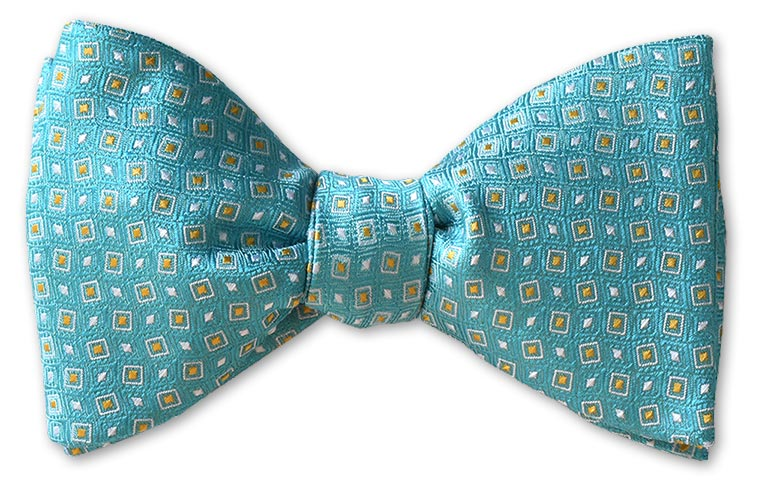 pre-tied aqua teal dotted woven bow tie