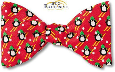 Red Skiing Penguin Silk Christmas Men's Bow Tie