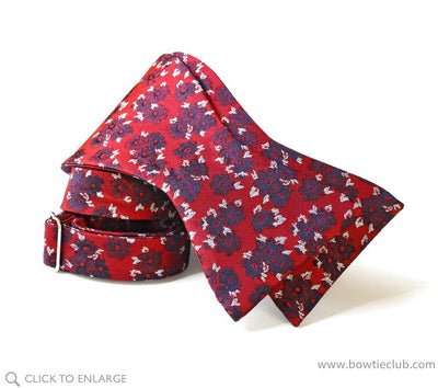 self tie red floral bow tie