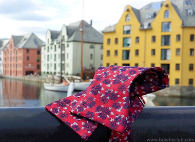 red floral bow tie on bridge