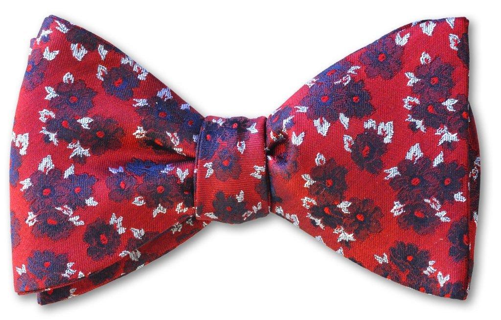pre-tied red floral bow tie