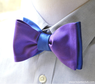 Purple and Blue Silk Satin reversible bow tie