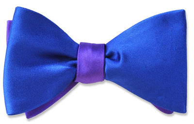 Blue and Purple Silk Satin Reversible Bow Tie