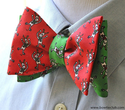 Christmas Reindeer Reversible Bow Tie