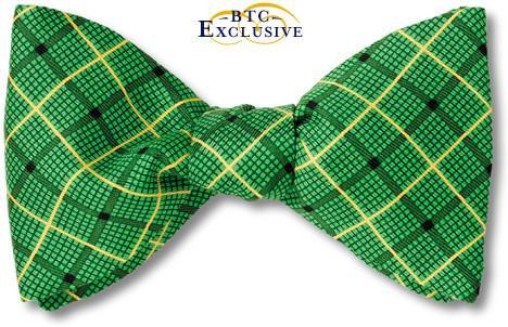 Plaid green Jamaica bow tie