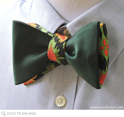 hunter green reversible bow tie