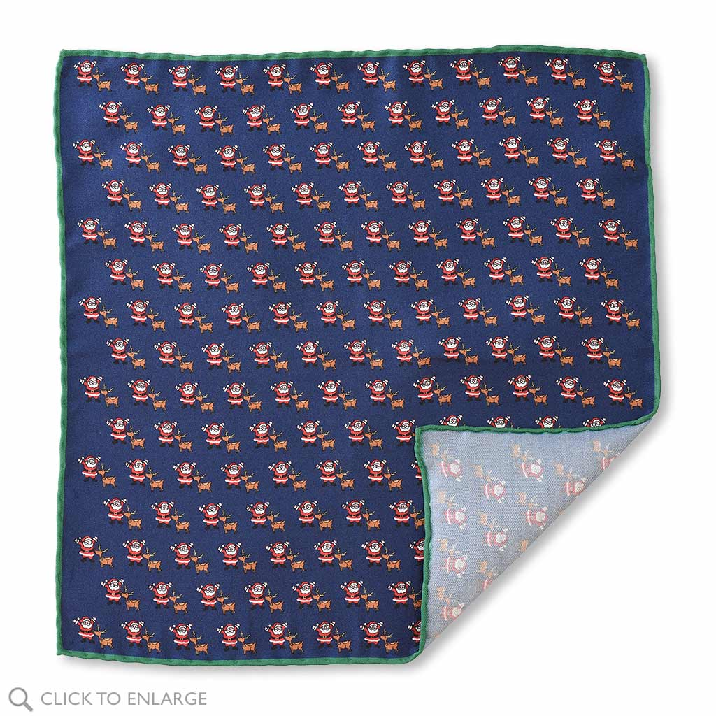 Christmas silk Mens Pocket Square in Blue with Santa and Rudolph