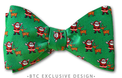 festive christmas santa and rudolph bow tie