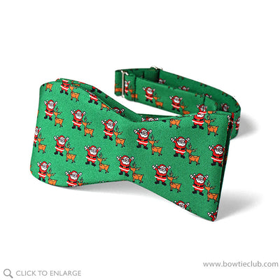 festive christmas santa and rudolph bow tie self tie