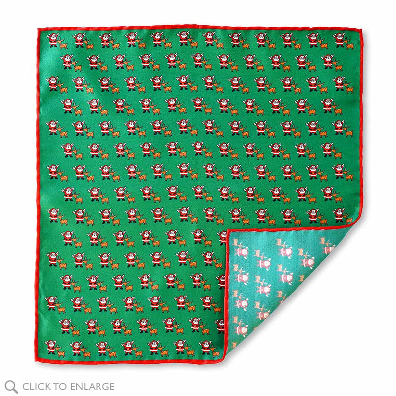 Christmas Santa and Rudolph Italian Silk Pocket Square