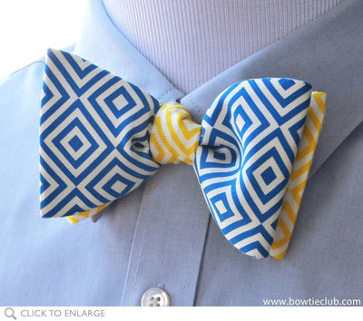 two-tone bow tie on shirt