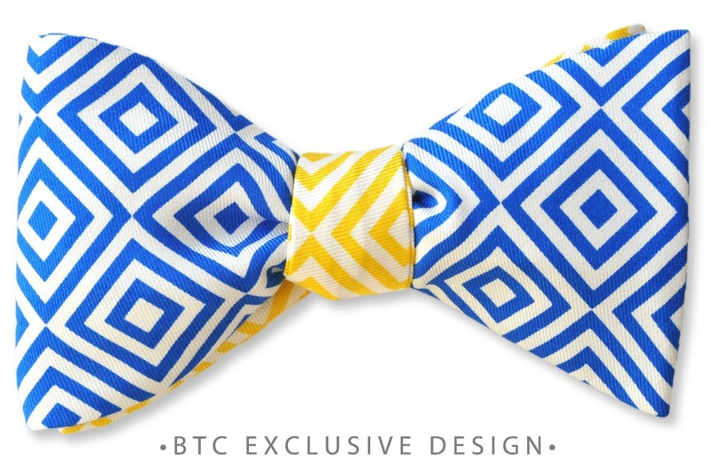 two-tone geometric bow tie