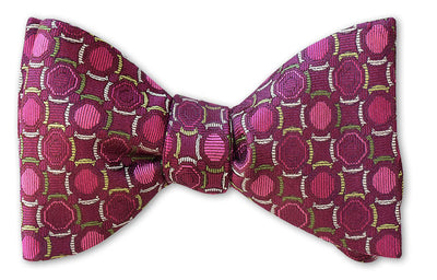 pretied red magenta silk woven bow tie