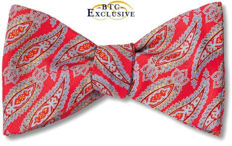 Red Paisley Silk Bow Tie