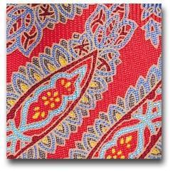 Red Paisley Silk Bow Tie Close Up