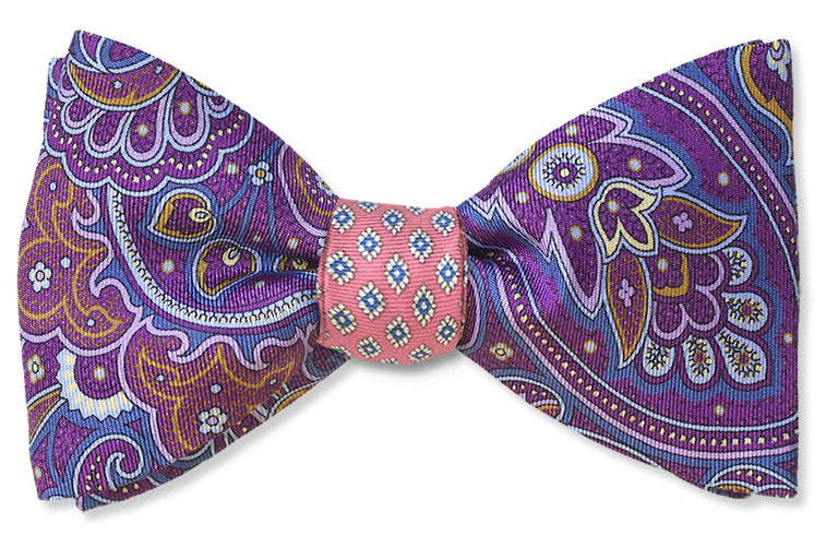 Purple paisley and Pink floret Italian silk bow tie