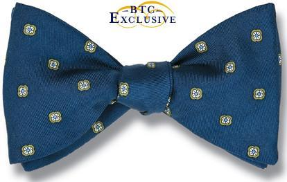 bow ties designer american made blue silk florets
