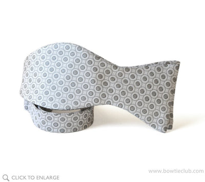 White and Silver Formal Events Bow Tie Self-tie