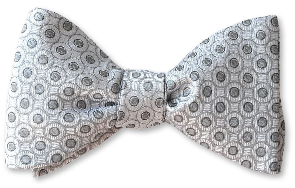 White and Silver Formal Events Bow Tie