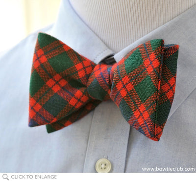 Skene Tartan Bow Tie on shirt
