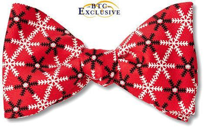 red snowflake christmas bow ties