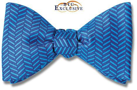 Herringbone Blue Bow Tie Soho