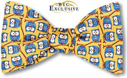 Yellow Owl Bow Tie