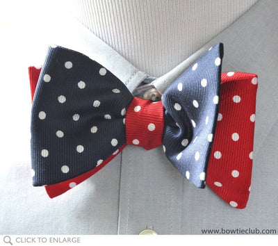 Navy and Red Reversible bow tie